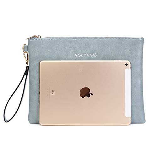 Women's PU Wristlet Wallet Purse Big Clutch Handbag with Zipper Ball Party Bag for Girl Grey by HOLYBIRD (Image #2)