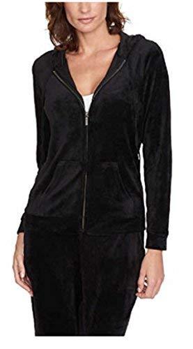 (Gloria Vanderbilt Women Velour Full Zip Sweatshirt Hoodie Jacket Black)