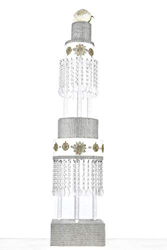 Butterflyevent 2 Tier Crystal Chandelier Cake Stand Round - 8