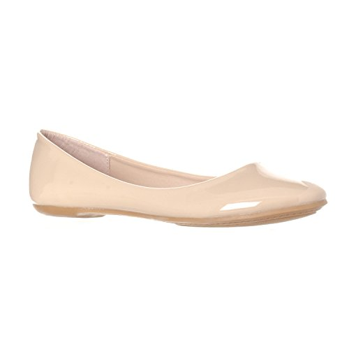 Riverberry Women's Aria Basic Closed Round Toe Ballet Flat Slip On Shoe, Nude Patent, 8
