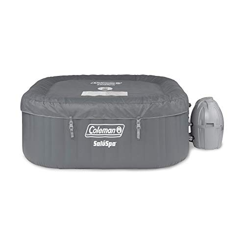 Coleman SaluSpa 4 Person Portable Inflatable Outdoor AirJet Round Hot Tub, Gray