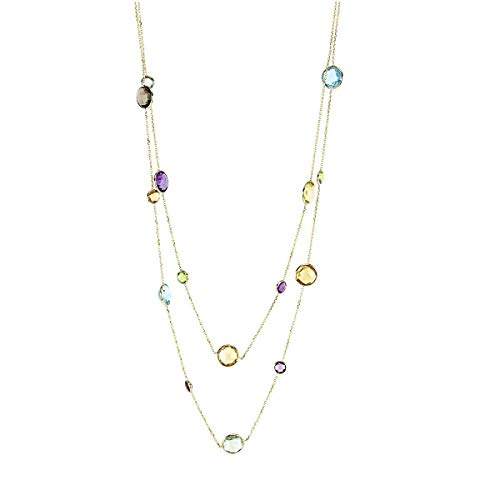 (14K Yellow Gold Necklace with Round Multi Color Gemstones 36 Inches)