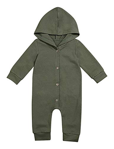 Newborn Baby Boys Cute Solid Color Long Sleeve Hooded Romper Jumpsuit Top Outfits Clothes (3-6 Months) Green -