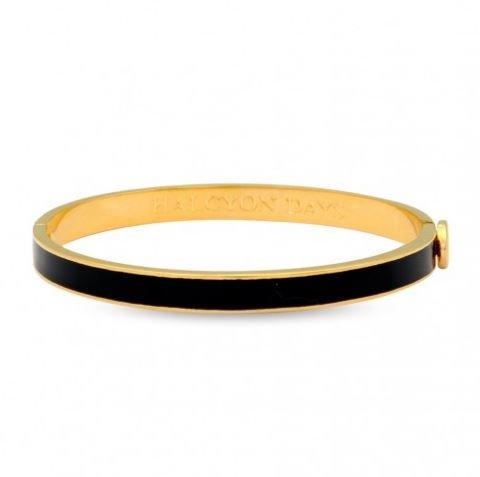 Halcyon Days Women's Skinny Plain Black Enamel & Gold Hinged Bangle / Bracelet, One size fits - Halcyon Boxes Days