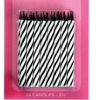 24 black and white candy striped candles (Black Striped Candle)