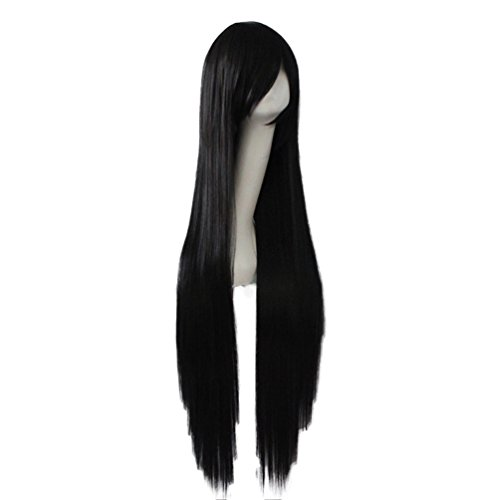 Rise World Wig Fashion 100cm Long Black Straight Bangs Heat Friendly Anime Cosplay Party Wig