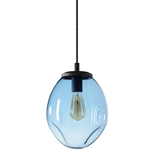 Casamotion Pendant Lighting Handblown Glass Drop ceiling lights, Organic Contemporary Style Hanging Light, Grey blue