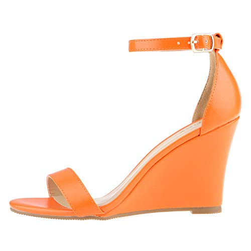 ZriEy Women's Ankle Strap Buckle Mid Wedge Platform Heeled Sandals 8CM Summer Dress Sandals Pump Shoes Orange Size - Orange Pumps Platform