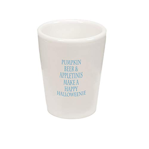 (Style In Print Light Blue Pumpkin Beer & Appletinis Ceramic Shot Glass Cup)