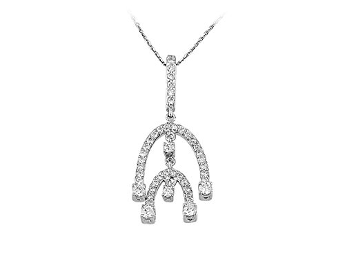 Secouer Collier de Diamants de Pierre-Femme- or Blanc 217P0018