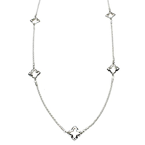 - Sterling Silver Station Link Long 1.5mm Diamond-Cut Rope Chain Necklace Italy 30