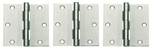 Global Door Controls 3.5 in. x 3.5 in. Satin Nickel Plain Bearing Steel Hinge - Set of 2 (Тhree Pаck)