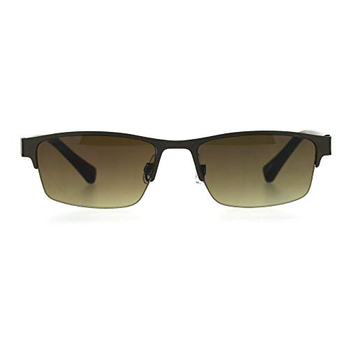 eb70bfcd6bb Mens 3 Focal Multi-focus Metal Half Rim Sunreader Reading Glasses Copper  Brown 1.5
