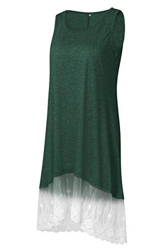Femmes Kemosen Ourlet En Dentelle Été Lâche Longueur Genou Casual Dessus Balançoire Robes T-shirt Sans Manches Vert