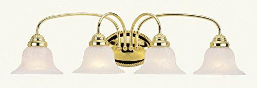 Livex Lighting 1534-02 Edgemont 4 Light Vanity Polished Brass with White Alabaster Glass - Edgemont Light 2