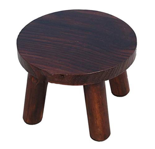 Vintage Footboard Bedroom - FGSJEJ Solid Wood Vintage Footstool Home Living Room Seat Stool Round Legs Wooden Shoe Stool Folding Chair Furniture Chair Camping Lounge Chair Garden Lounge Chair (Color : Brown, Size : One Size)