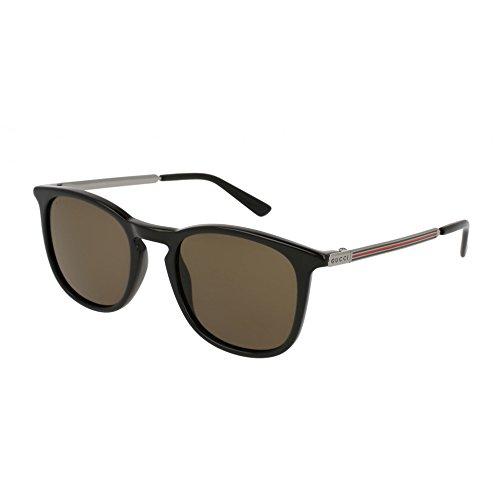 Gucci GG 0136S 001 Black Plastic Square Sunglasses Brown - Gucci Sunglasses Brown
