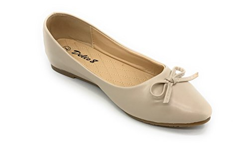 EASY21 Women's Faux Leather Berry Blue Beige Casual Shoes D07 Fashion Ballet Flats ZTwEAxq