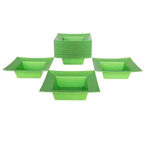 Deep Square Plastic Planter Dish - Flower Container For Wedding, Party, Home and Holiday Decor, Green, 24 Pack ()