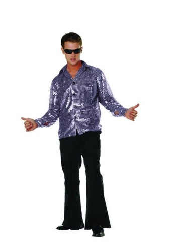 RG Costumes Disco Inferno Shirt, Blue, Medium (36-38)