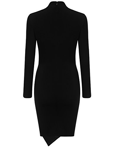 Women Black Fit Cocktail Evening Round Pencil Ruched Long Sleeve Neck Slim Dress ANGVNS awqdR7R
