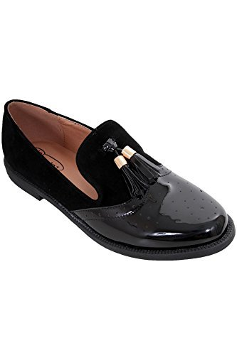 Zafiro Boutique Mujer con Flecos Patente Ante Imitación Contraste Mocasines Planos Zapatos Oxford - Negro, 4 UK: Amazon.es: Zapatos y complementos