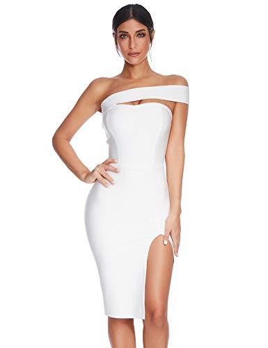 Meilun Womens Bodycon Bandage Dress Vestidos One Shoulder Midi Celebrity Party Dresses (White, XS)