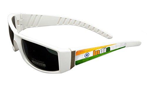 India Design White Frame/Black Lens 60mm Sunglasses Item # - Sunglasses India For Women