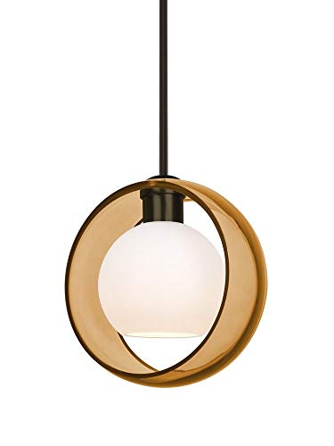 Besa Lighting 1TT-MANAAM-BR Mana - One Light Stem Pendant with Flat Canopy, Bronze Finish with Amber/Opal Glass (Stem Br Light Pendant 1)