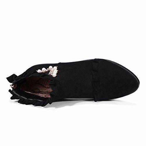 Carolbar Da Donna Con Strass Bordato Decorativo Con Cerniera Comfort Stivali Neri