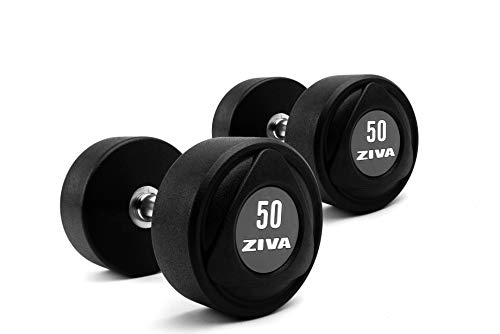 ZIVA SL Urethane Dumbbell for Weight Lifting, Core Training - Ergonomic, Comfort Grip - Set of Two, 50 lb.