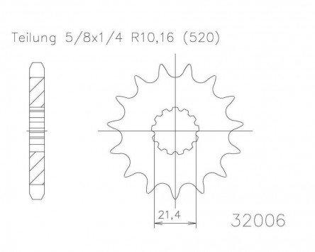 5//8x1//4 f/ür Yamaha XT 500 1U6 1976-1989 Ritzel 13 Z/ähne Stahl 520er Teilung