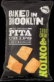 Baked In Brooklyn Pita Chips Sour Cream & Onion 8 oz (pack of 6) by BAKED IN BROOKLYN
