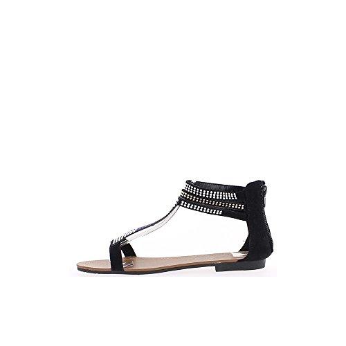 Sandalias planas de Strass bicolor negro