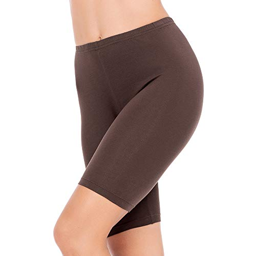 Slip Shorts for Women Short Leggings Mid Thigh Legging Plus Size Lace Undershorts Espresso Medium
