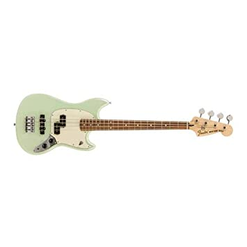 "Fender Limited Edition Mustang Bass Pj Electric Guitar, 19 Frets, Modern""C"" Shape Neck, Maple Neck Fingerboard, Gloss Polyester, Surf Pearl by Fender"