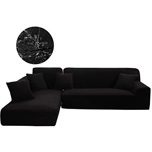 Obokidly for 2 Pieces Sectional Sofa Cover Cushion Couch Upholstered Chaise Imperial Concubine Centre Sleeper Living Room Imperial Queen Sofa Concubine Sofa (Black, L-Shape (4 Seats+4 Seats))