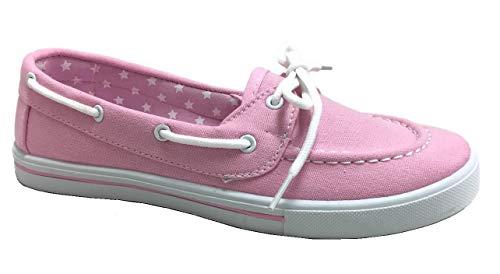 - Womens Canvas Slip On Boat Shoe Loafer Sneaker, Lt. Pink, 8.5