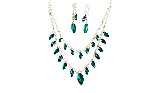 Double Row Festive Deep Aqua & Clear Crystal Marquis Necklace & Earring Set - Blue Jewelry