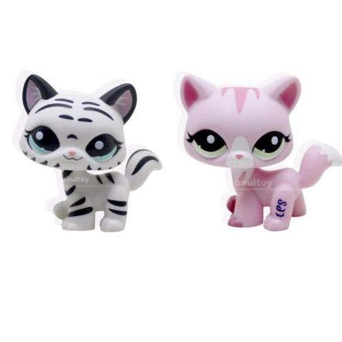 2pcs Littlest Pet Shop LPS Tiger White Pink Cat Kitty Toy #1788 #1498 Animal (Littlest Pet Shop Shorthair Cats)