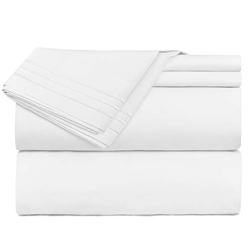Nestl Bedding Soft Sheets Set – 4 Piece Bed Sheet Set, 3-Line Design Pillowcases – Easy Care, Wrinkle Free – 10″-16″ Good Fit Deep Pockets Fitted Sheet – Warranty Included – King, White