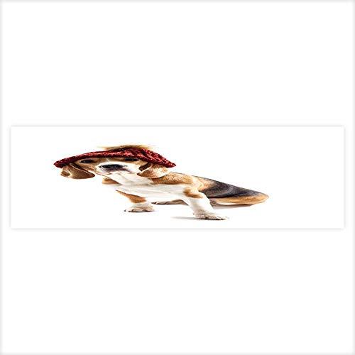 Auraisehome Aquarium Background Sticker Pretty Beagle Dog has Humorous Headwear Aquarium Sticker Wallpaper Decoration -