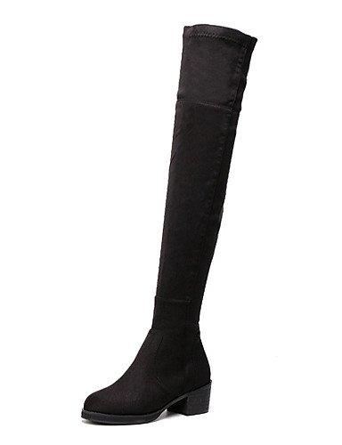 Tacón Eu39 Zapatos Xzz us8 Tacones Mujer Uk6 Negro De Vestido Cn39 Botas Robusto Black Redonda Vellón Plataforma Punta dtdZq