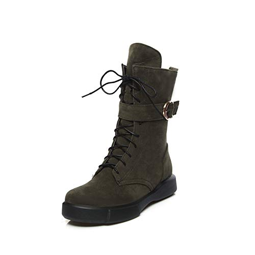 Dark Green US8   EU39   UK6   CN39 Dark Green US8   EU39   UK6   CN39 Women's Combat Boots Suede Fall & Winter Casual Boots Creepers Round Toe Mid-Calf Boots Buckle Black Almond   Dark Green