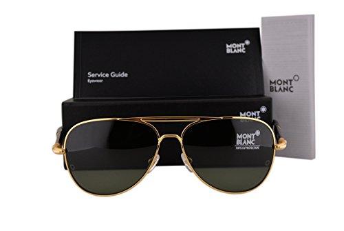 Mont Blanc MB519S Sunglasses Bright Gold w/Green Lens 30N MB - Gold Aviator Sunglasses Tiffany