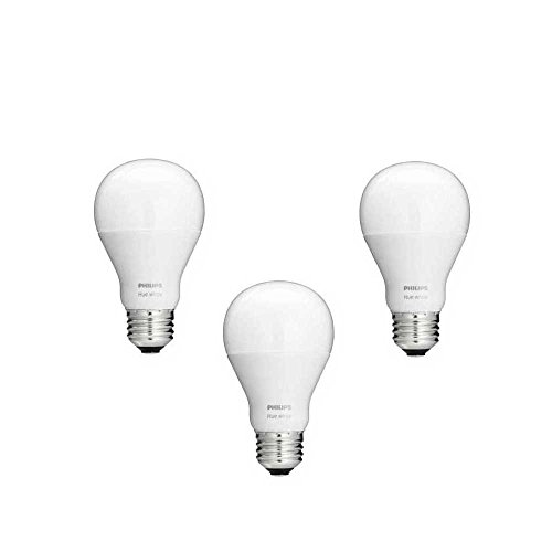 Philips Hue White A19 3-Pack 60W Equivalent Dimmable LED Smart Bulb (Compatible with Amazon Alexa Apple HomeKit and Google Assistant)