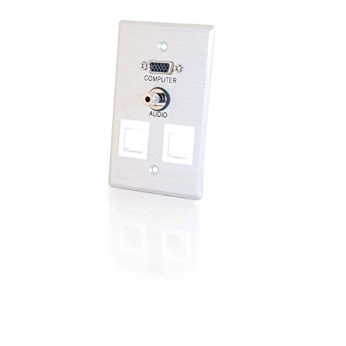 C2G 40544 VGA and 3.5mm Audio Pass Through Single Gang Wall Plate with Two Keystones, Brushed Aluminum