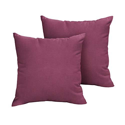 - 1101Design Sunbrella Canvas Iris Knife Edge Decorative Indoor/Outdoor Square Throw Pillow, Perfect for Patio Decor - Iris Purple 22