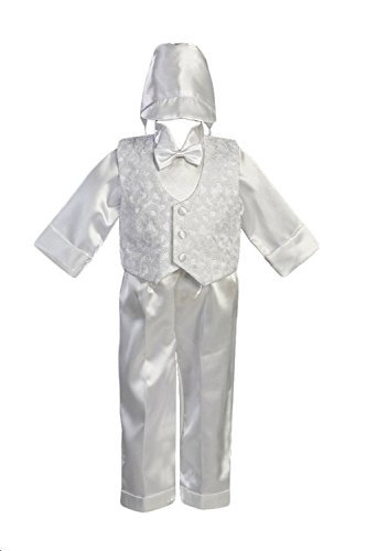 Embroidered Satin Suit (White Christening Baptism Embroidered Vest with Satin Shirt, Pants and Hat - XS)