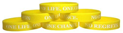 TheAwristocrat 6 Pack ONE Life, ONE Chance. NO Regrets Inspirational Silicone Wristband Rubber Bracelet (Yellow, Youth (7